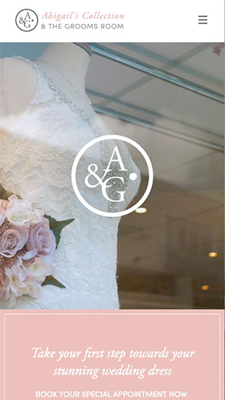 Abigail's Collection website on mobile