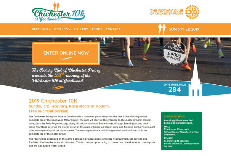 Chichester 10k website on desktop