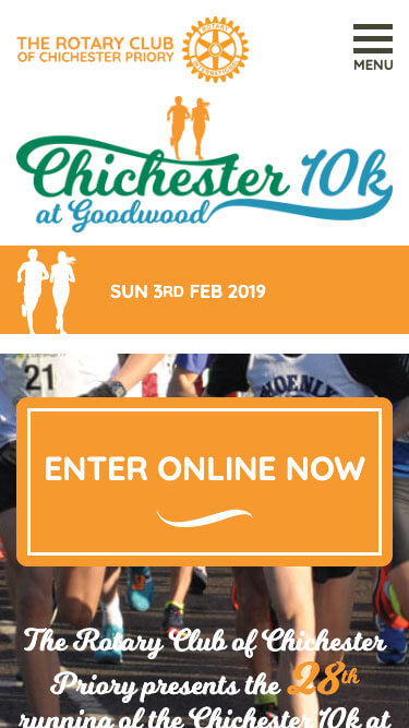 Chichester 10k website on mobile
