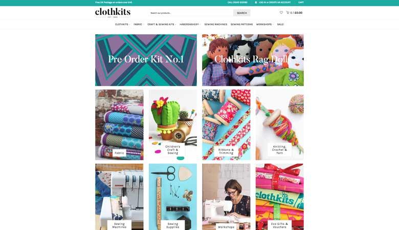 Clothkits website on desktop