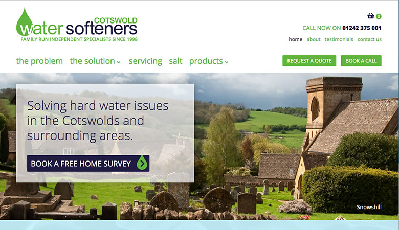 Cotswold Water Softeners website on desktop
