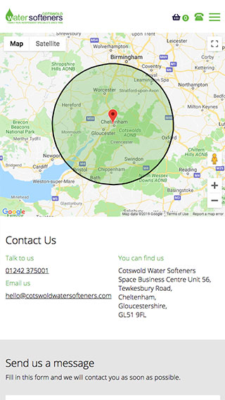 Cotswold Water Softeners website on mobile