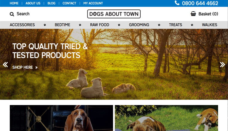 Dogs About Town website on desktop