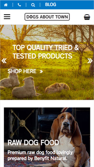 Dogs About Town website on mobile
