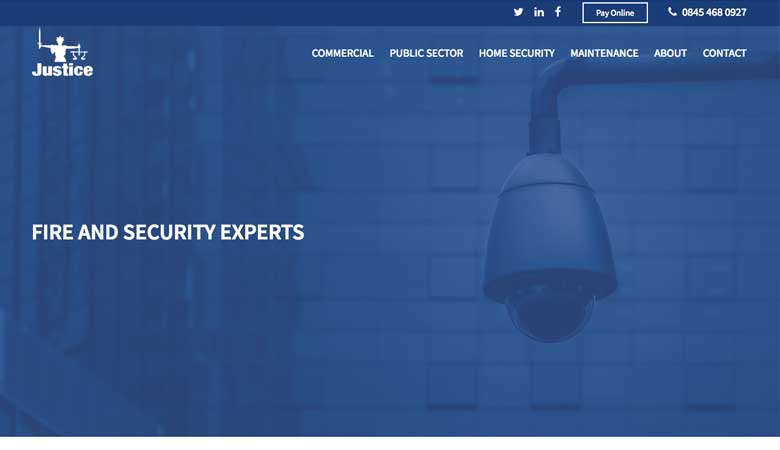 Justice Security website on desktop