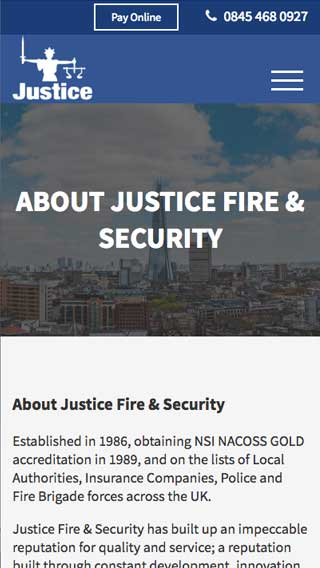 Justice Security website on mobile