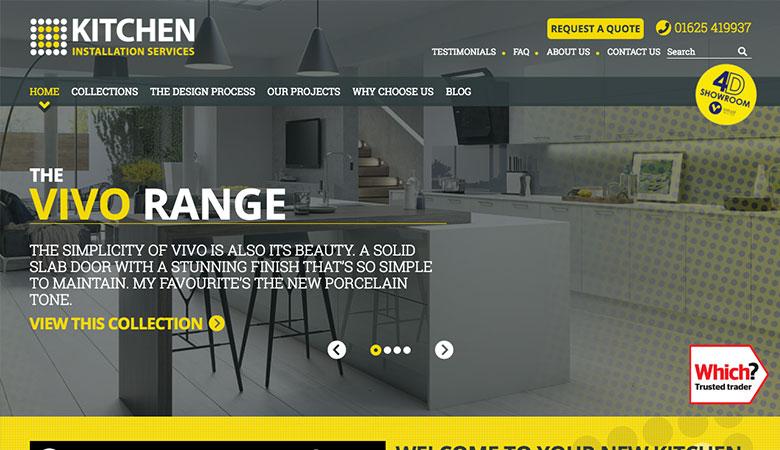 Kitchen Installation Services website on desktop