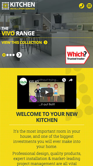 Kitchen Installation Services website on mobile