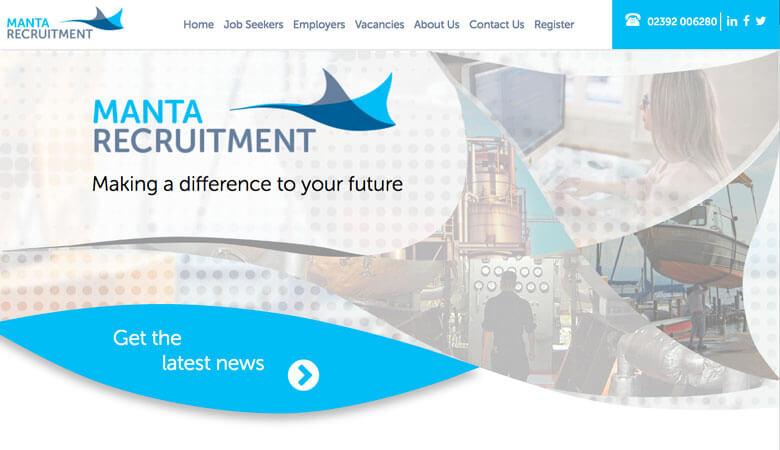 Manta Recruitment website on desktop