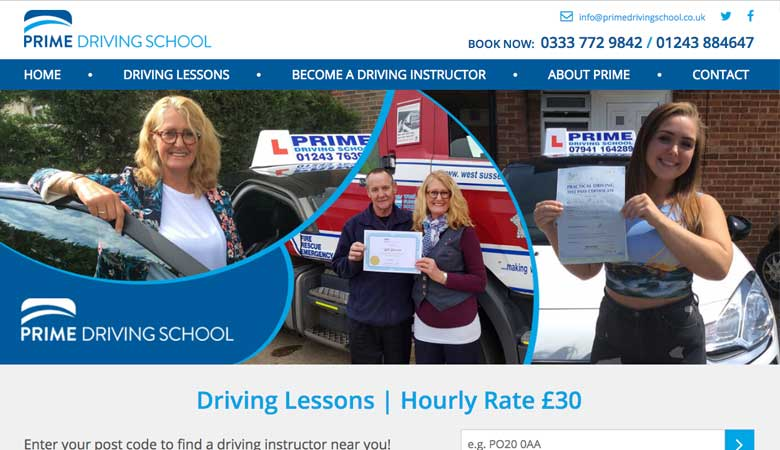 Prime Driving School website on laptop