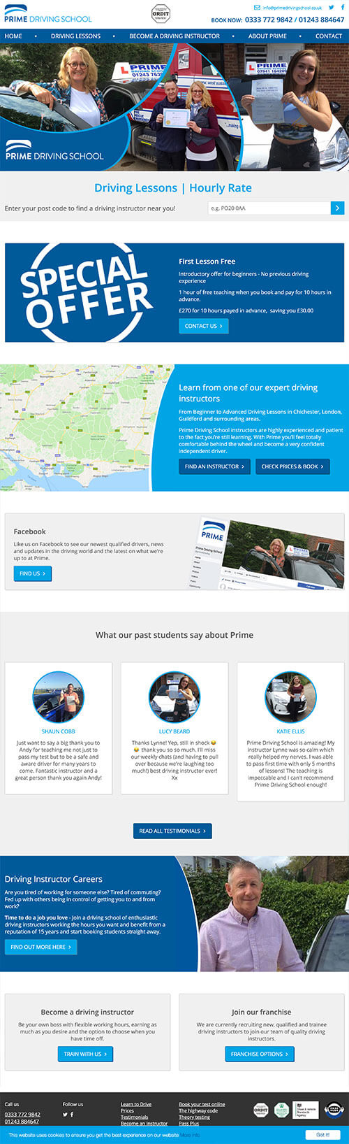 Prime Driving School Full Website Design & Build