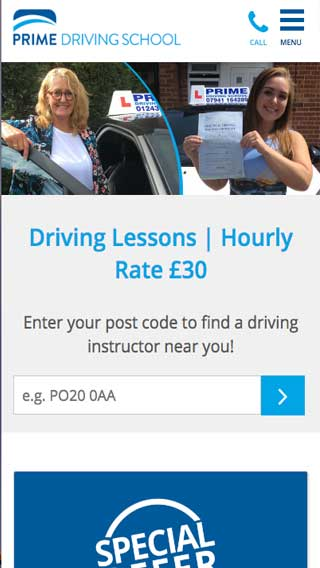 Prime Driving School website on mobile