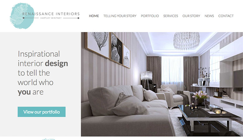 Renaissance Interiors website on desktop
