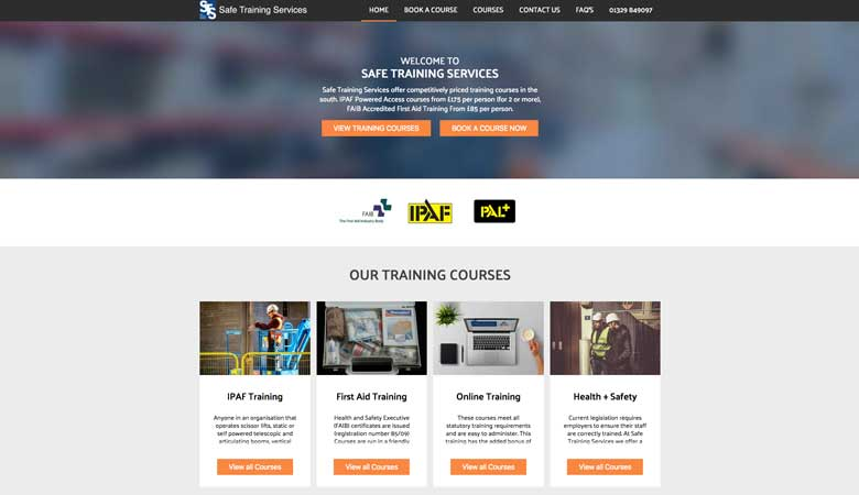 Safe Training Services website on desktop