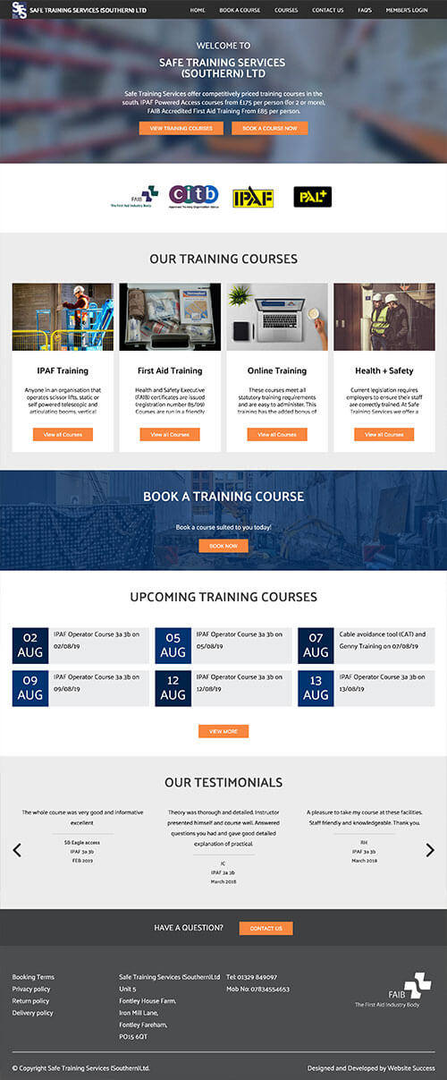 Safe Training Services Full Website Design & Build