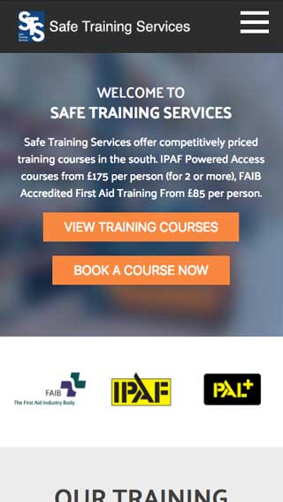 Safe Training Services website on mobile