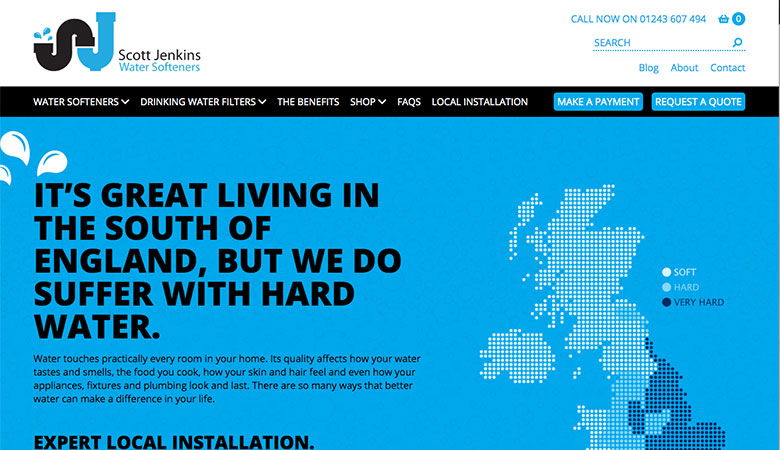 Scott Jenkins Water Softeners website on laptop