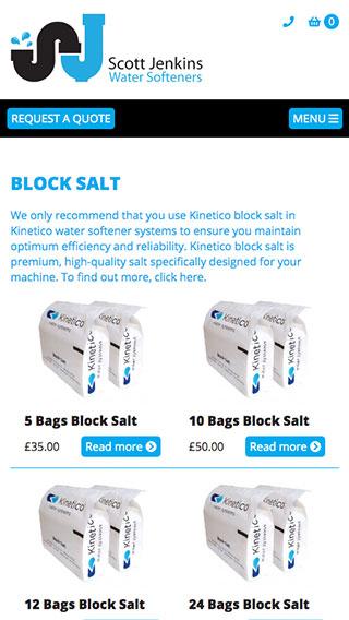 Scott Jenkins Water Softeners website on mobile