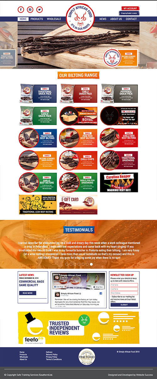 Simply African Food Full Website Design & Build