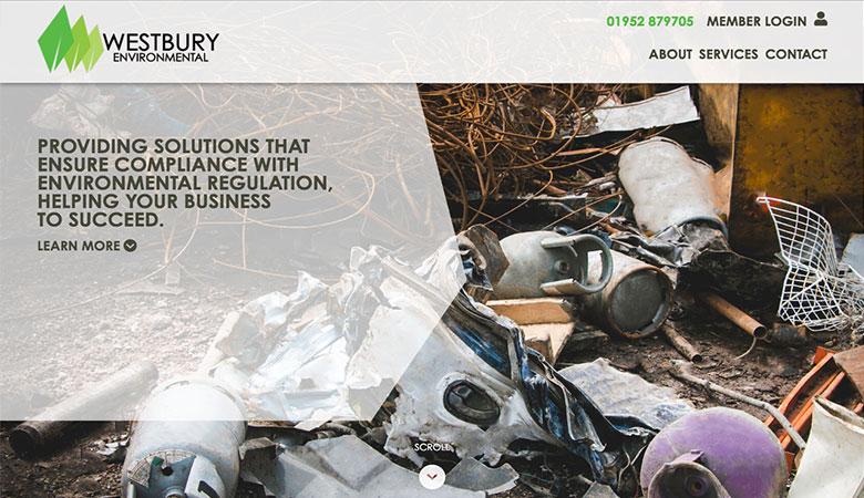 Westbury Environmental website on desktop