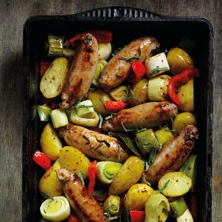 Picture of a Leek Potato and Sausage Traybake
