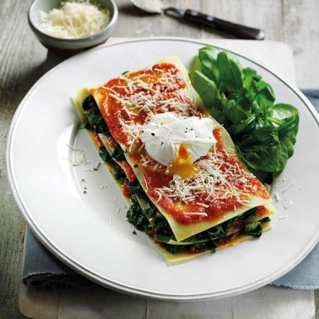 Picture of an Open Lasagne with Spinach & Poached Egg