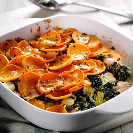 Picture of a Salmon Sweet Potato and Cavolo Nero Gratin