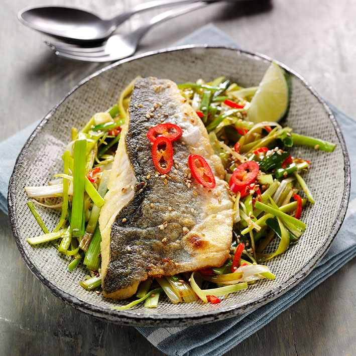 Picture of Grilled Seabass with Oriental Leeks