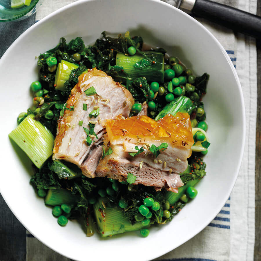 Picture of Slow Roasted Pork With Braised Leeks & Kale