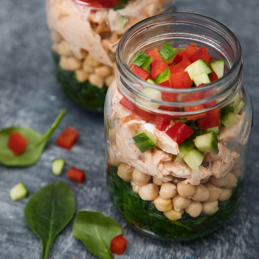 Picture of Layered Harissa Chicken Spinach & Chick Pea Jars