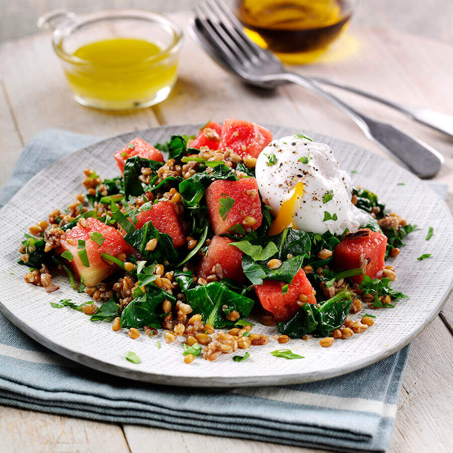 Picture of a Spinach Watermelon and Grain Salad