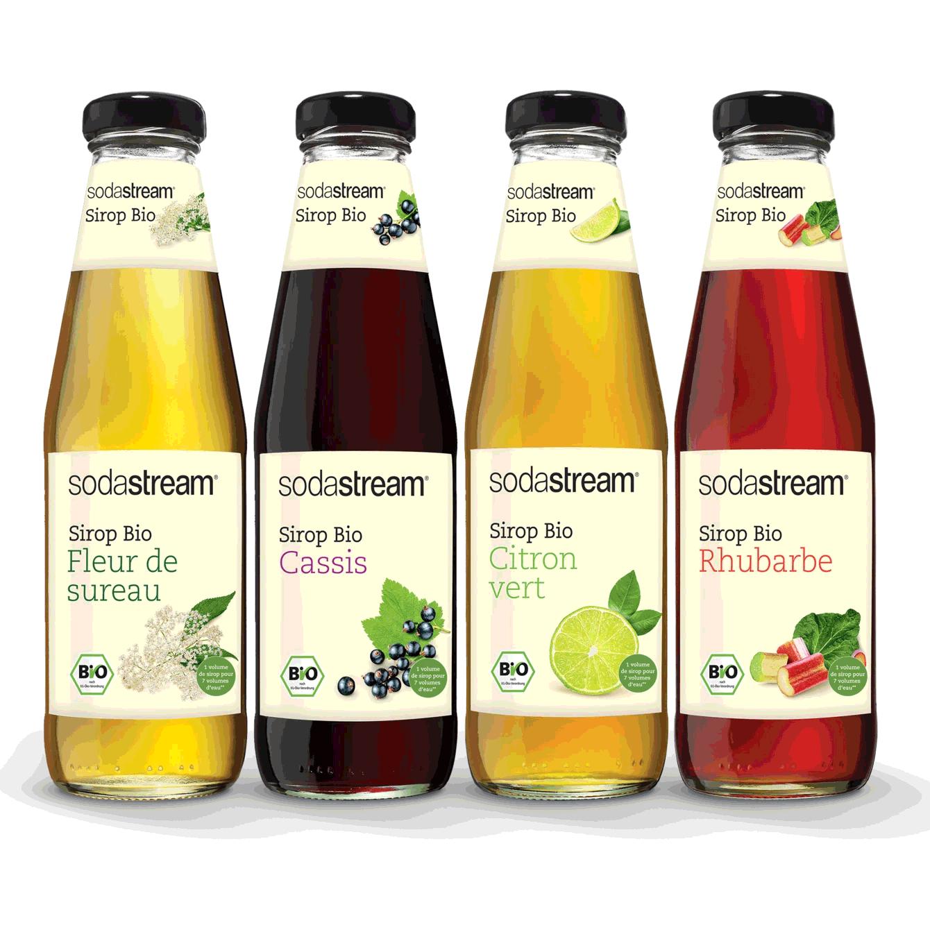 quatre bouteilles sirops bios sodastream