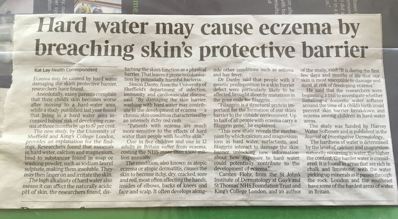 Hard water may cause eczema by breaching skin's protective barrier