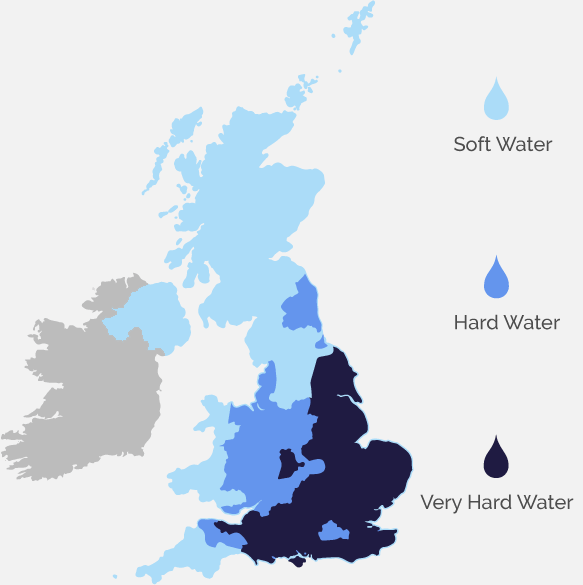 Hard water areas in UK