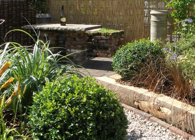 The eco friendly garden utilises reclaimed, recycled and natural materials