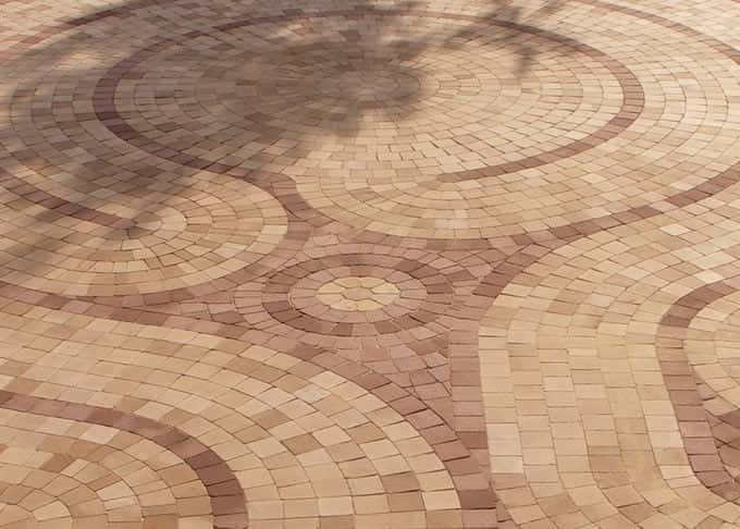 The bespoke pavior labyrinth is an intricate work of art