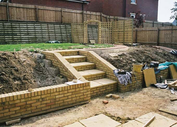 The garden under construction showing the need for screening
