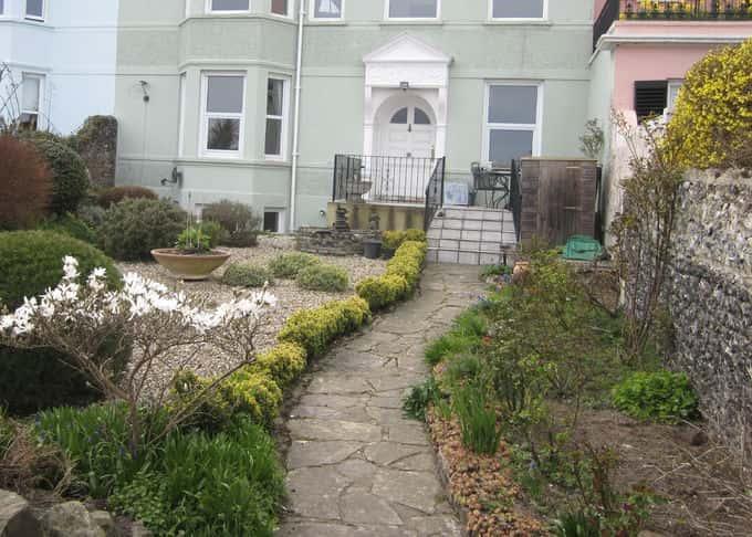 An uninspiring view from the garden gate before