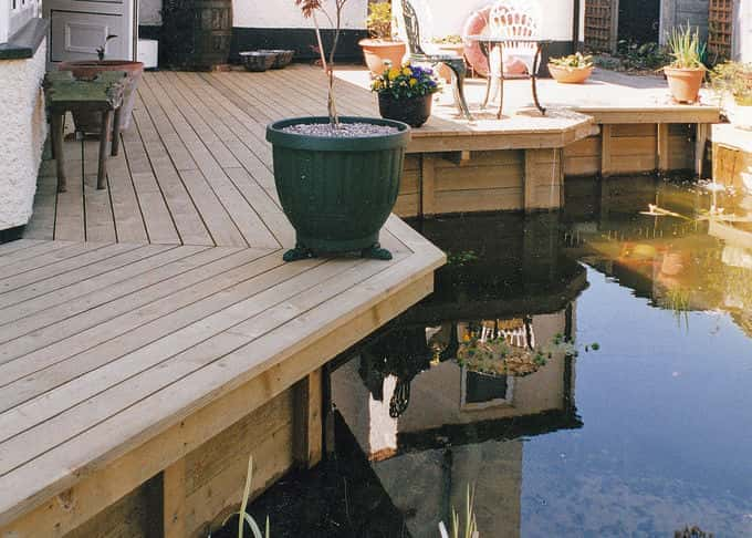 Decking alongside water, the perfect place to relax