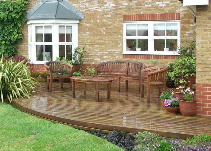 A beautiful deck shines through the rain