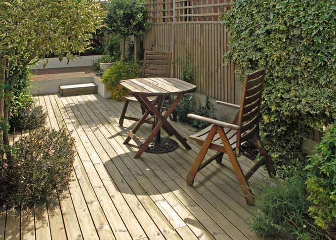 Decking provides a natural looking garden surface