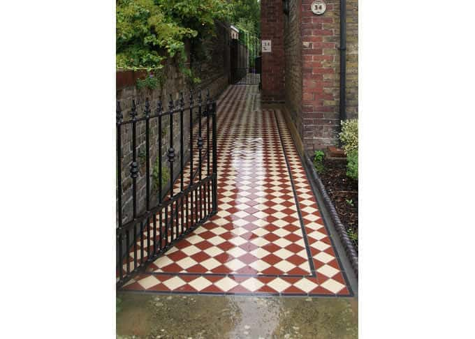 Tiled surfaces (image: Victorian style tiled path)