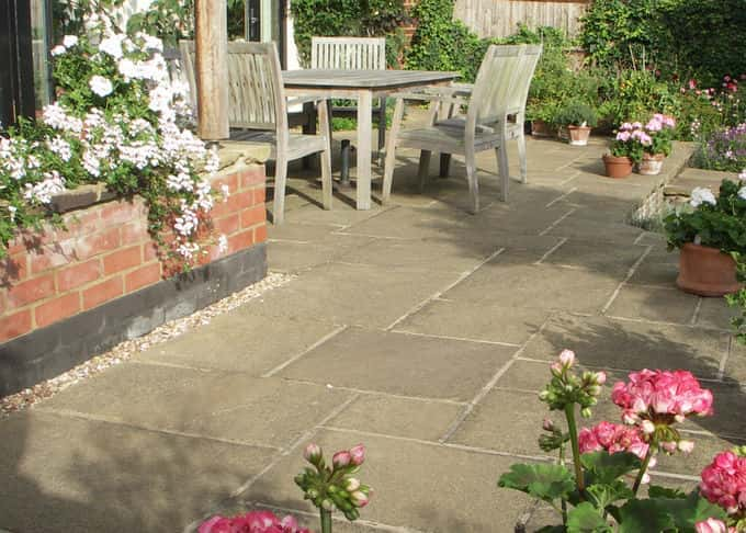 A quintessentially English York stone patio