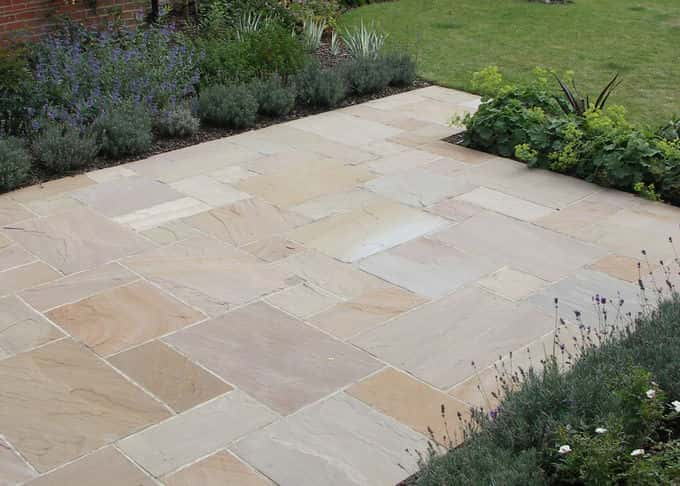 Subtle colour variations are characteristic of imported sandstone paving