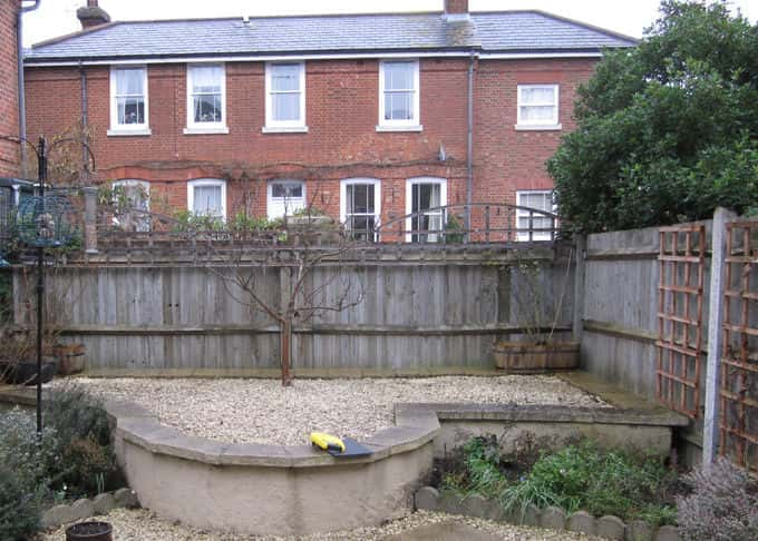 Before – a small garden with a bleak view and no privacy