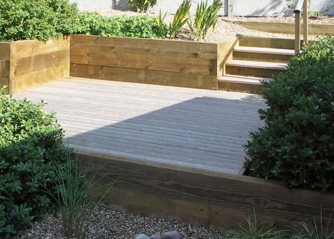 Steps and walls in timber are soft and natural looking as well as durable