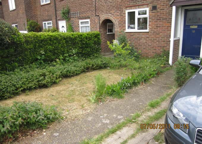 A front garden before installation of the stabilised grass system