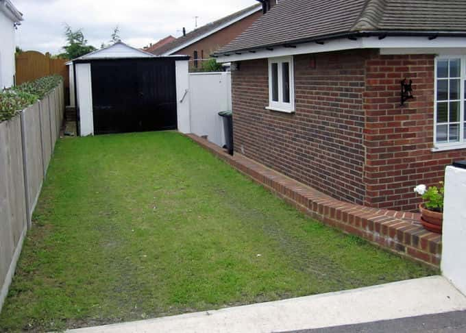 The established grass on the regularly used driveway