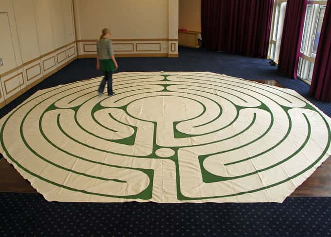 Our portable canvas labyrinths can be laid out in any indoor space