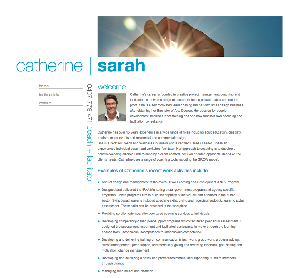 Catherine Sarah : Website